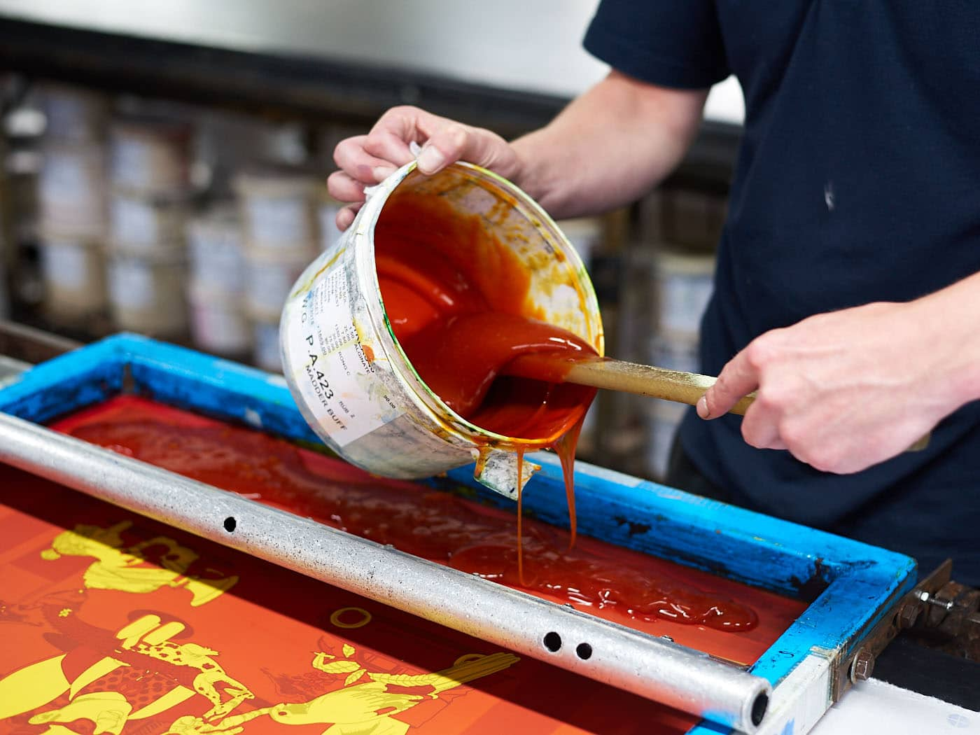 screen printing - ink application at Adamley Textiles